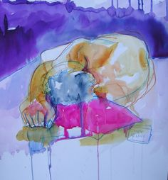 The Sleeper, gouache, acrylic and ink - copyright 2011 Lesley Birch
