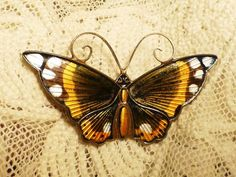 Large David Andersen Monarch Butterfly PIN Sterling Enamel Norway