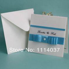 2014 Newest Handmade Elegant Blue Ribbon Wedding Invite US $306.88