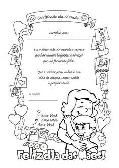 desenho do dia das mães para imprimir   Dia das Mães, desenho para colorir, Certificado da Mamãe
