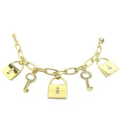 Fashion Is Key. Unlock The Secret To Style Wearing This Charm Bracelet. Wrap Your Wrist In Eternal Intelligence With These Gold Charms. Toggle Closure.