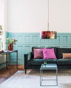 IKEA Karlstad hack: Zaragoza Vintage Velvet Viridian sofa cover by Bemz and legs from Pretty Pegs