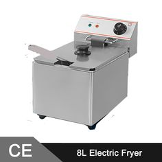 285.00$  Watch here - http://aliodf.worldwells.pw/go.php?t=1983351097 - 8L Electric Commercial Deep Fryer Single Tank Single Basket Stainless Steel Bench Top