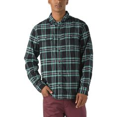 Hajotrawa Mens Plaid Classic Lapel Neck Flannel Curved Hem Button Down Shirts