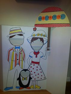 Mary Poppins and friends photo prop booth I made for my nieces bday Mary Poppins theme party!