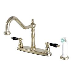 "Kingston Brass KB1752PKL 8"" Centerset Kitchen Faucet with Plastic Sprayer, PB - Price: $279.95 & FREE Shipping over $99     #kingstonbrass"