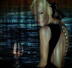 bionda Animazione ragazza con gli occhi blu con un schiena nuda contro il mare e il calice di vino / Buona sera / SIFCO ragazza bionda con gli occhi blu con un schiena nuda su uno sfondo del mare e il calice di vino / Buona sera /