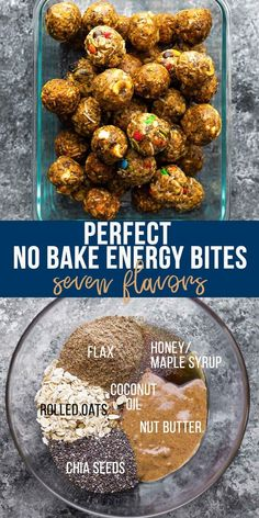 Showing you how to make PERFECT no bake energy bites- never crumbly, full of flavor, and 7 different flavor add ins! Great for kids or a snack on the go. Protein Bites, High Protein Snacks, Healthy Energy Bites, Vegan Protein, Healthy Treats, Healthy Baking, Snack Recipes, Healthy Recipes, Healthy Breakfasts