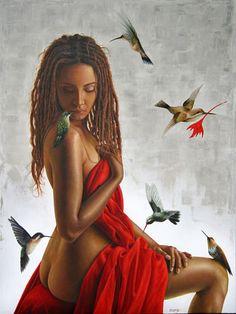Colibríes atraídos por el rojo
