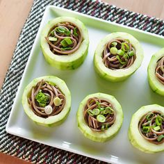Chilled Soba in Cucumber Cups #Vegan