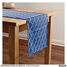 #christmas #xmas #elegant #modern #blue #silver #tablerunner #partysets in lots of different products & designs. Check more at www.zazzle.com/celebrationideas