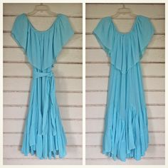 1970s turquoise GAUZE sundress, matching sash tie, off-the-shoulder… just listed…