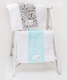 Charcoal Damask & Blue Bump Burp Cloth Set