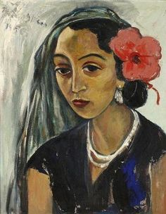 Irma Stern (1894-1966, South Africa) - Woman with a Hibiscus, 1956