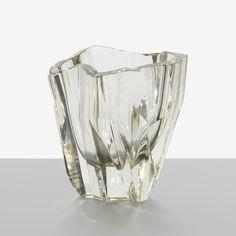 Lot 307: Tapio Wirkkala. Iceberg vase, model 3825. 1951 / c. 1965, still-mold blown crystal. 8 w x 7 d x 7¾ h in. estimate: $1,500–2,000. Incised signature to underside: [Tapio Wirkkala 3825].