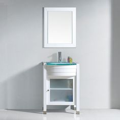 Virtu USA - - Ava Single Round Sink Glass Top Vanity in White with Polished Chrome Faucet and Mirror Small Bathroom Vanities, Single Bathroom Vanity, Bath Vanities, Glass Top Vanity, Vanity Set With Mirror, Countertop Options, Sink Countertop, Round Sink, Brushed Nickel Faucet