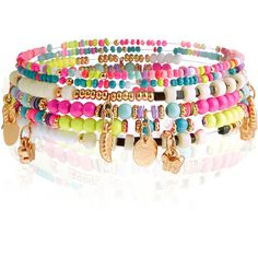 Monsoon Neon Charm Stretch Bracelets ($12) ❤ liked on Polyvore featuring jewelry, bracelets, bracelet charms, tri color bracelet, stretch bracelet, beaded stretch bracelet and stretch charm bracelet