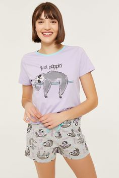 Cute Girls Just Sloth Chillin Girls Heart Long Cotton Pyjamas