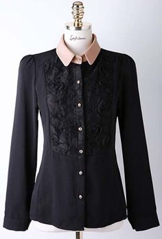 Formal Turndown Collar Long Sleeved Black Lace Long Blouse