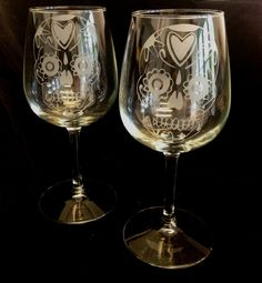 Sugar Skull Dia de Los Muertos  Day of The Dead Custom Etched  Wine Glass Goblet set of 2 Limited Quantities. $35.00, via Etsy.