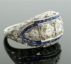 1920s Diamond Ring - Art Deco Diamond and Sapphire Ring. $15,500.00, via Etsy.    Wow! #vintagerings
