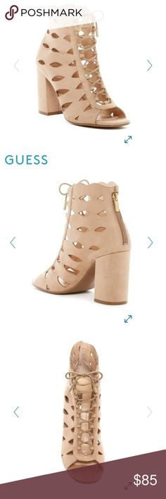 HOST PICK TOTAL TRENDSETTER 11/14 BNIB Guess lace up lasercut bootie in versatile beige/stone! Faux suede; wrapped heel. Also available in tan/light brown in a separate listing! Guess Shoes