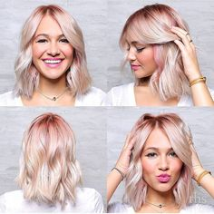 Pink roots, platinum ends, short bob. By Janelle at The Hair Standard