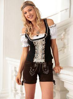 Stockerpoint Trachten-Lederhose kurz Damen mit Stickerei im Universal Online Shop
