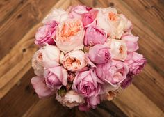 romantic pink peach bridal bouquet for spring summer weddings