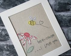 Original textile art, bee art, textile picture, applique art, handmade, free motion, machine embroidery, anniversary gift, valentines gift Freehand Machine Embroidery, Free Motion Embroidery, Free Machine Embroidery, Embroidery Cards, Fabric Cards, Fabric Postcards, Fun Valentines Day Ideas, Valentine Gifts, Girlfriend Anniversary Gifts