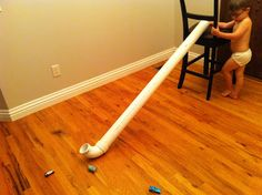PLAY CREAT EXPLORE _PVC pipe to use as a car slide...or outside with dirt, rocks, water, etc.