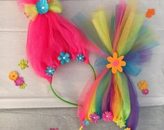 Other - Neon Rainbow Troll Hair Headband Trolls Birthday Party, Troll Party, Girl Birthday, Birthday Parties, 15th Birthday, Tulle Crafts, Fun Crafts, Diy And Crafts, Crafts For Kids