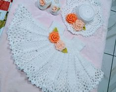 Gorgeous pink and white crochet baby dress set with sun hat Baby Dress Clothes, Crochet Baby Clothes, Baby Dresses, Girls Dresses, Crochet Girls, Love Crochet, Crochet Baby Dress Pattern, Crochet Patterns, Romper Dress