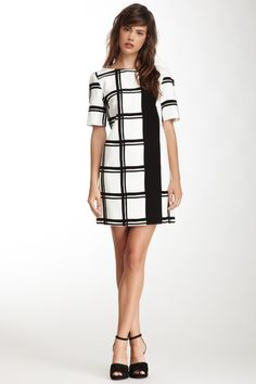Checkered Border Short Sleeve Dress by tibi on @HauteLook