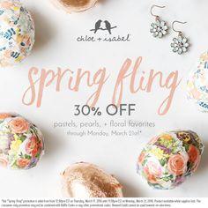 30% OFF Spring Fling styles all weekend – shop my boutique today! www.chloeandisabel.com/boutique/katiestavig