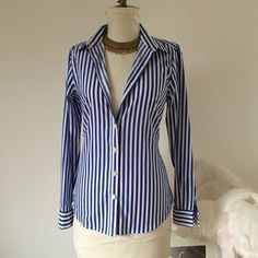 """BR Banana Republic Fitted Shirt Blue and white vertical striped fitted collar shirt. Worn once, like new. Wear buttoned up or not for a sexier look. Long sleeves 24.25"""" shoulder to wrist. 19"""" armpit to armpit, 17"""" waist, 20"""" at hem. Bust darts, back waist darts and fitted sides for a good fit. Banana Republic Tops Button Down Shirts"""