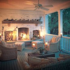 So coveting this!!! A fireplace on a big covered deck! LOVE!! ♥