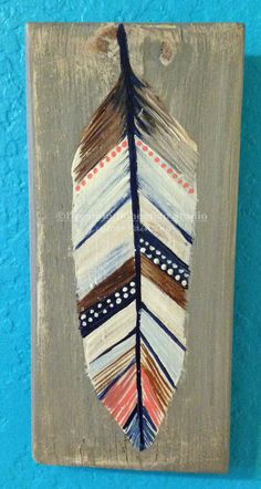 Hand Painted Feather on reclaimed wood for Bohehiam Nursery .- Hand Painted Feather on reclaimed wood for Bohehiam Nursery Decor or Tribal Gallery Wall Custom Colors and Bird Species of your choice - Feather Wall Art, Feather Painting, Pallet Painting, Wood Painting Art, Pallet Art, Wood Art, Wall Wood, Wood Feather, Feather Drawing
