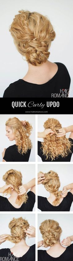 Cool awesome 2 min updo for curly hair (Hair Romance) by www.dana-hairstyl… The post awesome 2 min updo for curly hair (Hair Romance) by www.dana-hairstyl…… appeared first on Elle Hairst . Bun Hairstyles, Trendy Hairstyles, Curly Haircuts, Hairstyles For Nurses, Quick Curly Hairstyles, Amazing Hairstyles, Layered Haircuts, Hairstyles Haircuts, Short Hair Styles