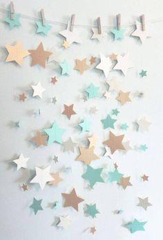 Decoração de chá de bebê com varal de estrelas #chadebebemenino #chadebebe #decoração