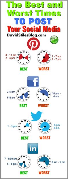 THE BEST TIMES TO POST SOCIAL MEDIA (AND WORST). From: DavidStilesBlog.com