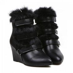 Stunning Faux Fur and Wedge Heel Design Women's Short Boots