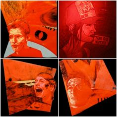 Portraits made from discarded traffic cones #Etchings, #Plastic, #Portraits, #Recycled, #TrafficCone