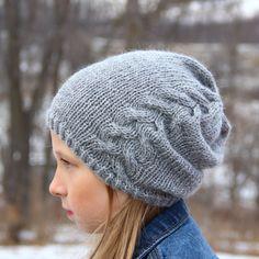 Downloadable Hat Pattern Slouchy Beanie Knitting Pattern