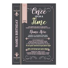 Once Upon A Time Story Tale Book Princess Birthday Invites Fun invite for any age! Back print included. Book Birthday Parties, Birthday Book, Birthday Party Invitations, Girl Birthday, Princess Invitations, Custom Invitations, Invites, Princess First Birthday, Story Tale