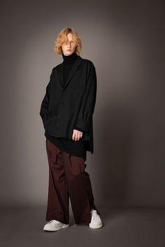 HOMME 2021-22 A/W 017, Grampians Washable Wool Twill Tailored Baggy Shirt FRC-B04-106, Wool Rib + Wool Jersey Combination Tunic FRC-T09-110, Stripe Nylon Chambray Slit Baggy Pants FRC-P03-602 Chambray, Rain Jacket, Windbreaker, Menswear, Normcore, Tunic, Jackets, Pants, Shirts