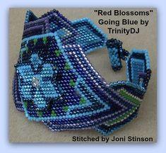 BPBR005  Red Blossoms Going Blue  3D Brick Stitch von TrinityDJ, $7.50