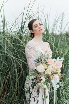 Bridal beach styled shoot editorial with FrogPrince and Niall Scully photography in Rush Beach Ireland Types Of Photography, Wedding Photography, Bridal Gowns, Wedding Dresses, Irish Wedding, Types Of Flowers, Bride Bouquets, Real Weddings, One Shoulder Wedding Dress