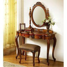 Meja Rias Jati Klasik Ukir Cermin Ovale