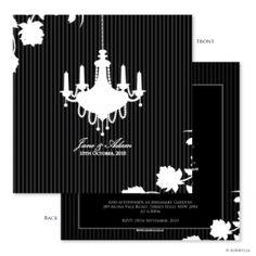 Auravella black chandelier wedding invitations